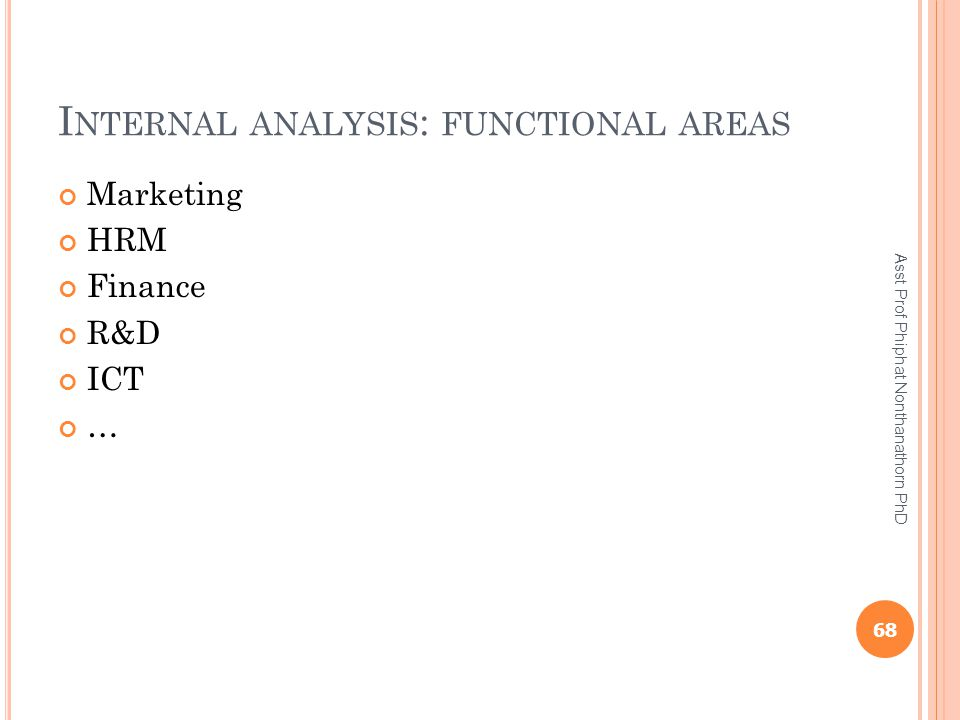 I NTERNAL ANALYSIS : FUNCTIONAL AREAS Marketing HRM Finance R&D ICT … 68 Asst Prof Phiphat Nonthanathorn PhD