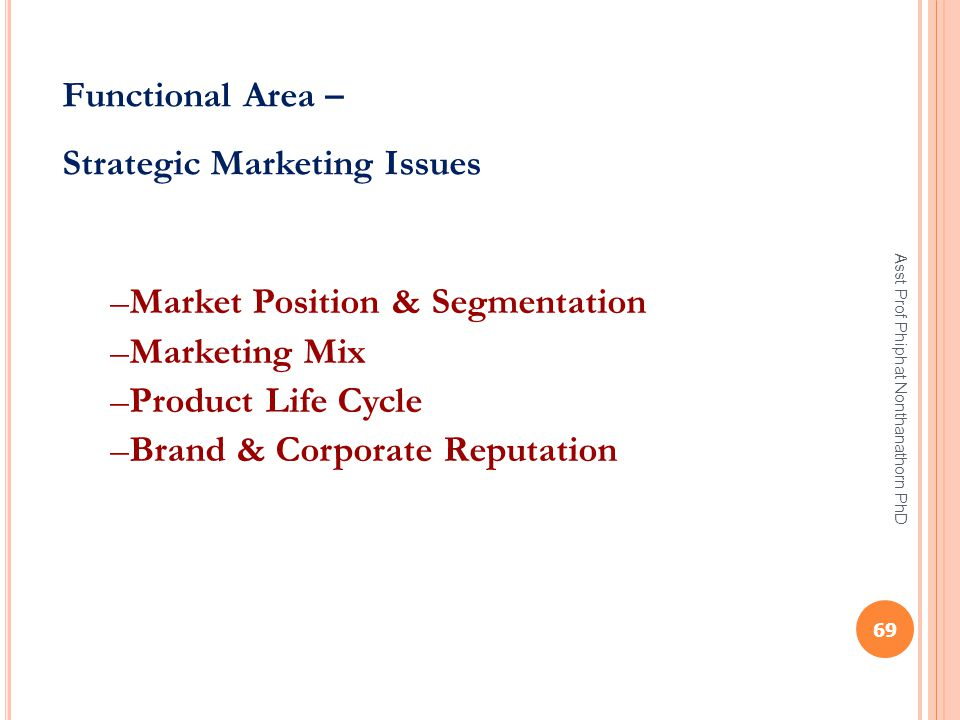 Functional Area – Strategic Marketing Issues –Market Position & Segmentation –Marketing Mix –Product Life Cycle –Brand & Corporate Reputation 69 Asst