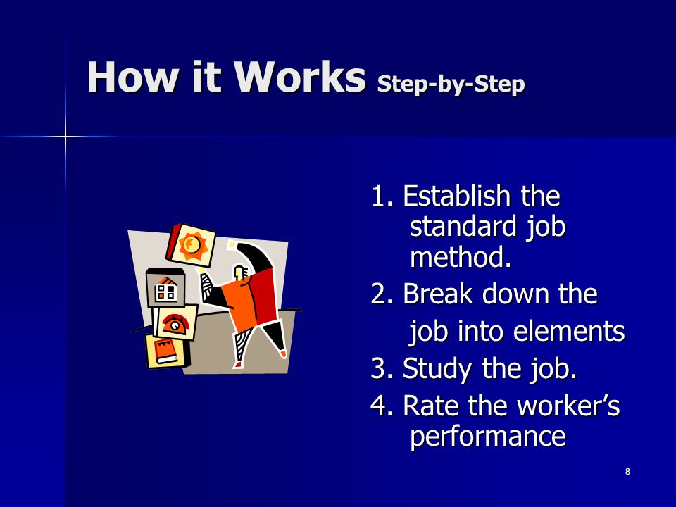 8 How it Works Step-by-Step 1. Establish the standard job method.