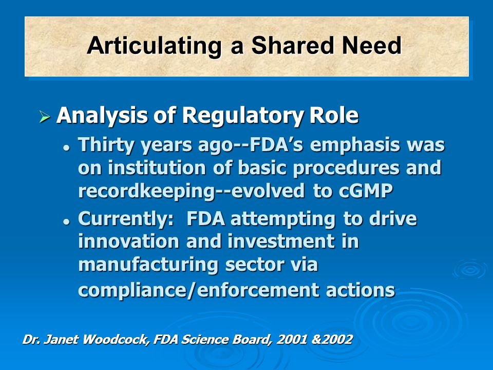  Analysis of Regulatory Role Thirty years ago--FDA's emphasis was on institution of basic procedures and recordkeeping--evolved to cGMP Thirty years