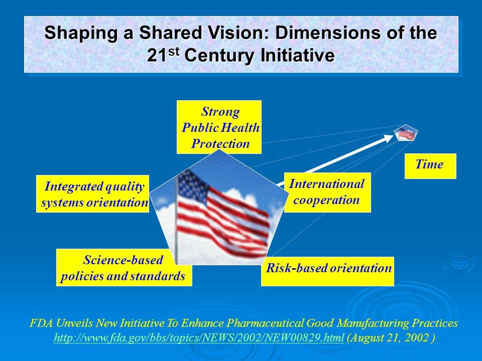 FDA Unveils New Initiative To Enhance Pharmaceutical Good Manufacturing Practices http://www.fda.gov/bbs/topics/NEWS/2002/NEW00829.htmlhttp://www.fda.