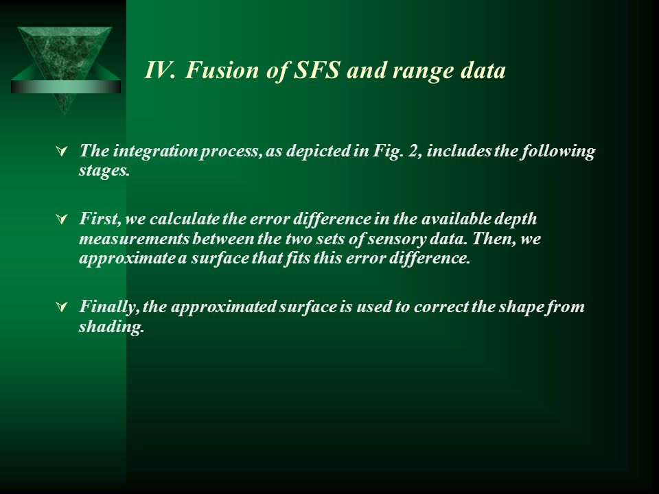 IV. Fusion of SFS and range data  The integration process, as depicted in Fig. 2, includes the following stages.  First, we calculate the error diff