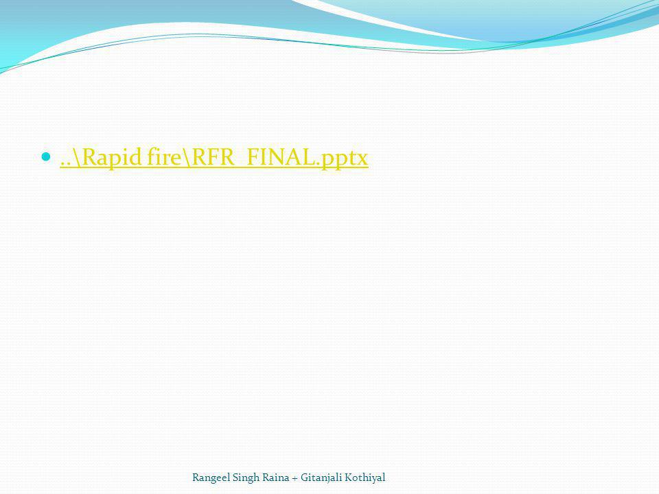 ..\Rapid fire\RFR FINAL.pptx Rangeel Singh Raina + Gitanjali Kothiyal