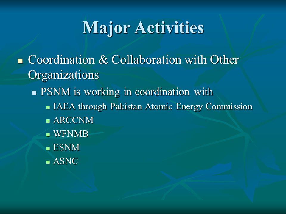 Major Activities Coordination & Collaboration with Other Organizations Coordination & Collaboration with Other Organizations PSNM is working in coordi