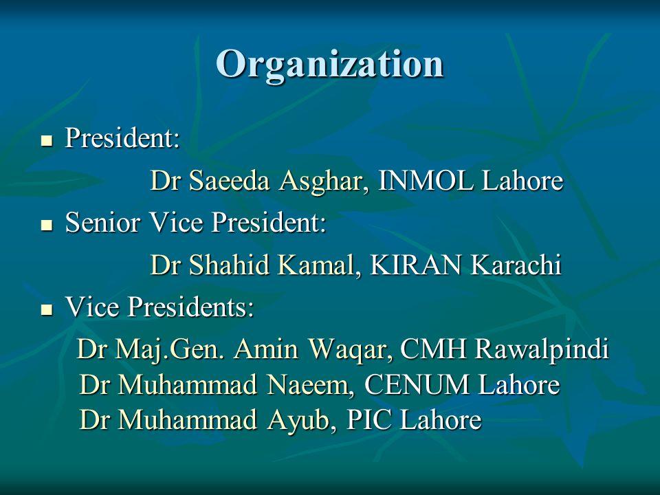 Organization President: President: Dr Saeeda Asghar, INMOL Lahore Dr Saeeda Asghar, INMOL Lahore Senior Vice President: Senior Vice President: Dr Shah