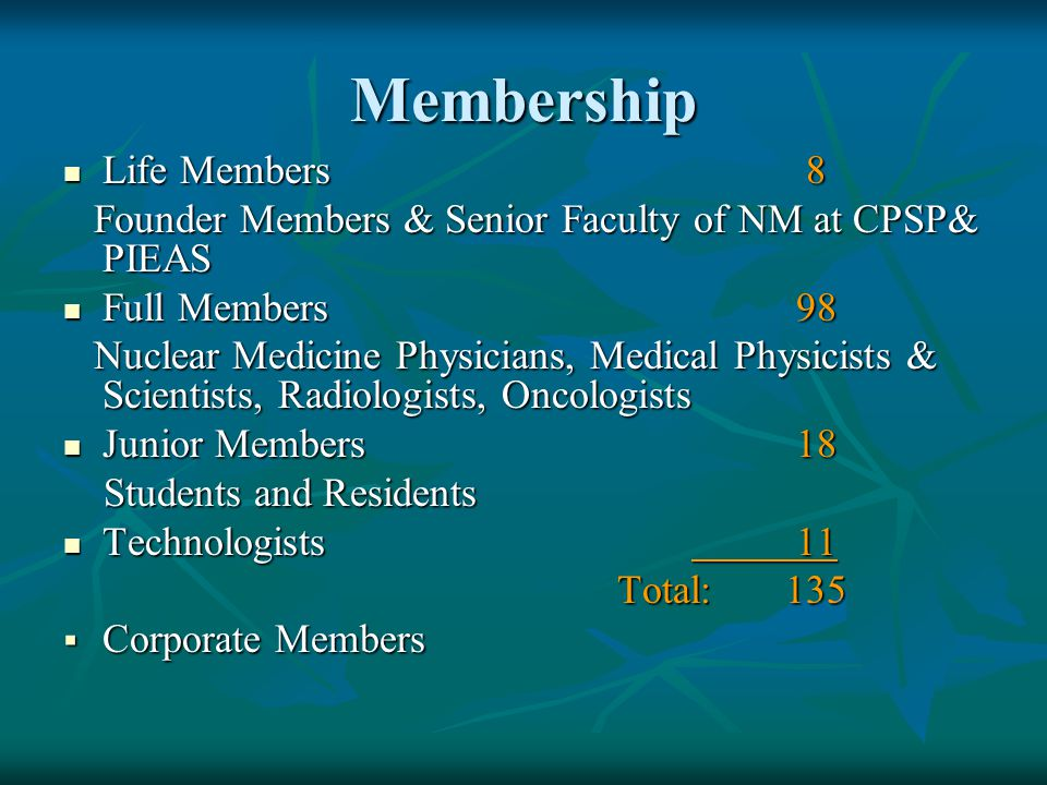 Membership Life Members 8 Life Members 8 Founder Members & Senior Faculty of NM at CPSP& PIEAS Founder Members & Senior Faculty of NM at CPSP& PIEAS Full Members98 Full Members98 Nuclear Medicine Physicians, Medical Physicists & Scientists, Radiologists, Oncologists Nuclear Medicine Physicians, Medical Physicists & Scientists, Radiologists, Oncologists Junior Members18 Junior Members18 Students and Residents Students and Residents Technologists11 Technologists11 Total: 135 Total: 135  Corporate Members