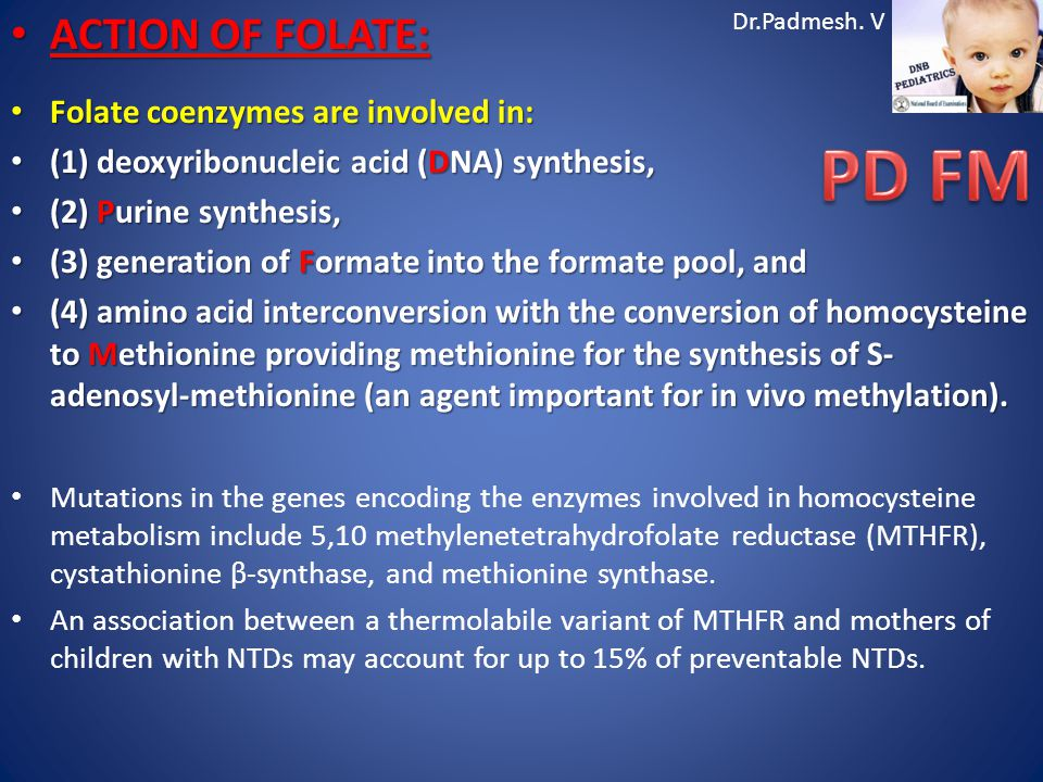 Dr.Padmesh. V ACTION OF FOLATE: ACTION OF FOLATE: Folate coenzymes are involved in: Folate coenzymes are involved in: (1) deoxyribonucleic acid (DNA)