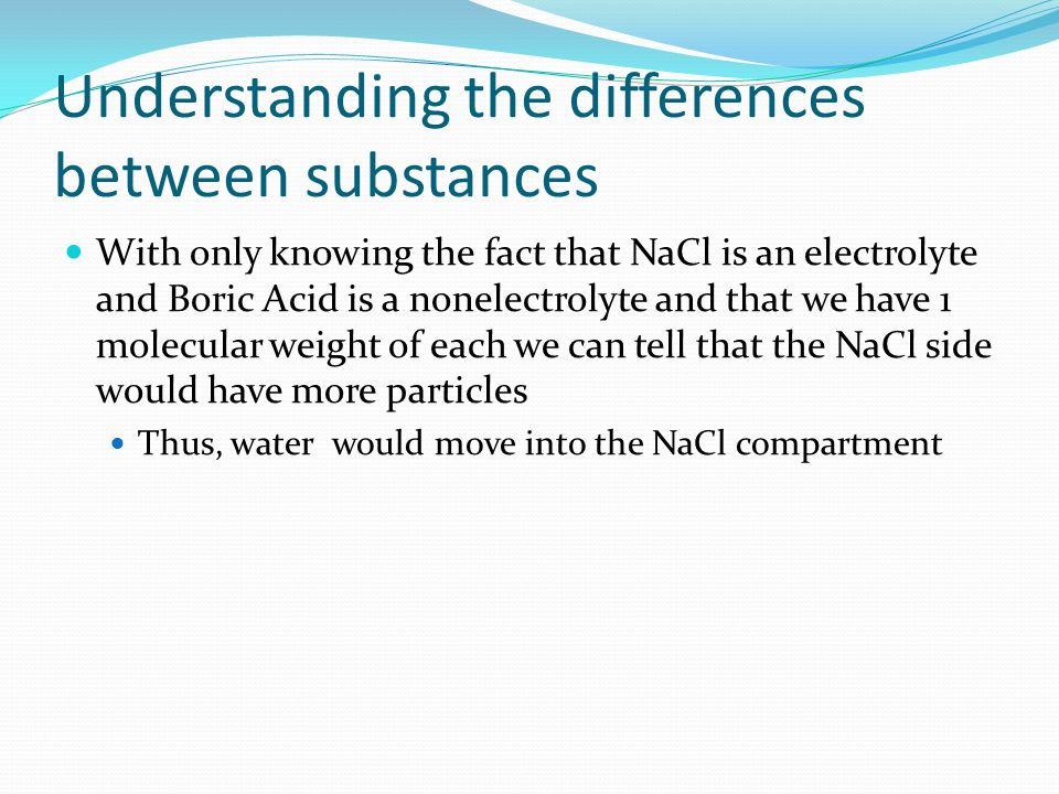 Understanding the differences between substances With only knowing the fact that NaCl is an electrolyte and Boric Acid is a nonelectrolyte and that we have 1 molecular weight of each we can tell that the NaCl side would have more particles Thus, water would move into the NaCl compartment