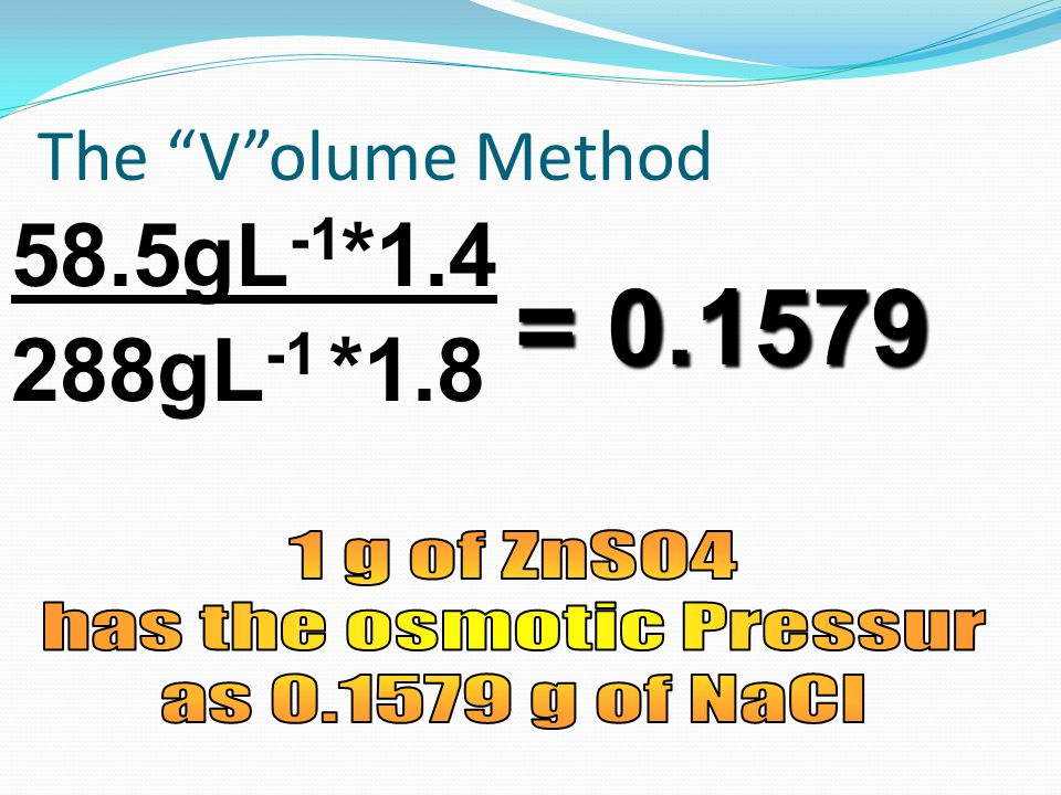 288gL -1 *1.8 58.5gL -1 *1.4 = 0.1579 The V olume Method