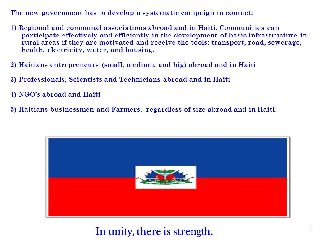 1 The new government has to develop a systematic campaign to contact: 1) Regional and communal associations abroad and in Haiti.
