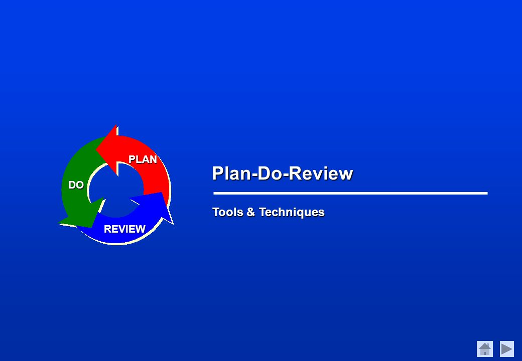 Tools & Techniques Plan-Do-Review PLAN DO REVIEW