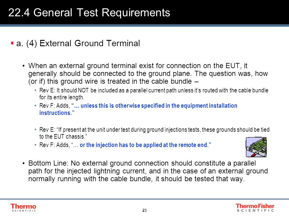 23 22.4 General Test Requirements  a. (4) External Ground Terminal When an external ground terminal exist for connection on the EUT, it generally sho