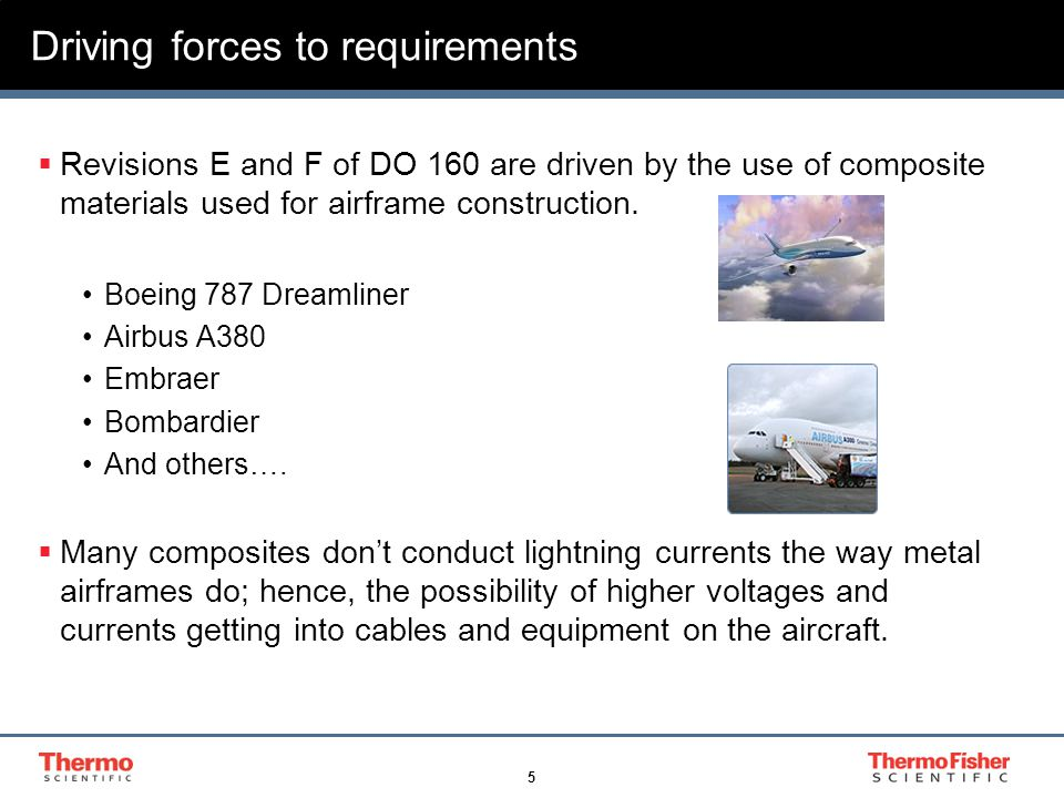 5 Driving forces to requirements  Revisions E and F of DO 160 are driven by the use of composite materials used for airframe construction. Boeing 787