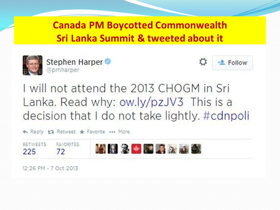 Canada PM Boycotted Commonwealth Sri Lanka Summit & tweeted about it