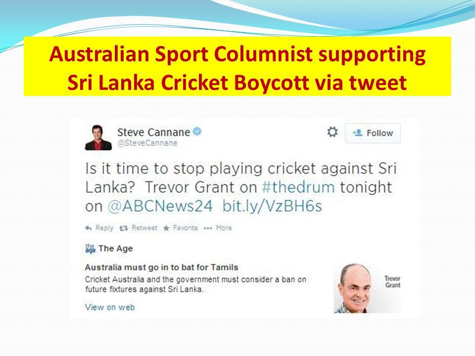 Australian Sport Columnist supporting Sri Lanka Cricket Boycott via tweet