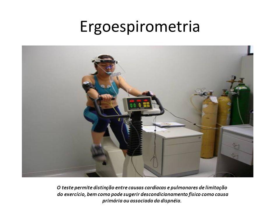 Ergoespirometria O teste permite distinção entre causas cardíacas e pulmonares de limitação do exercício, bem como pode sugerir descondicionamento físico como causa primária ou associada da dispnéia.