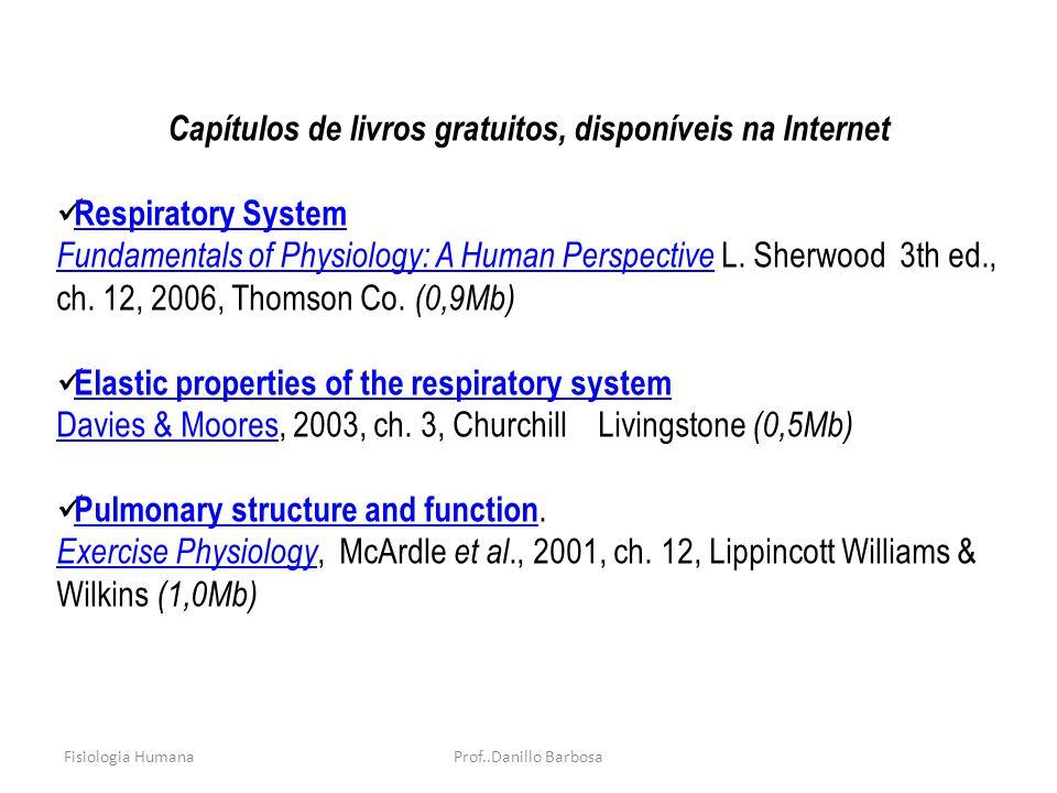 Fisiologia HumanaProf..Danillo Barbosa Capítulos de livros gratuitos, disponíveis na Internet Respiratory System Fundamentals of Physiology: A Human Perspective Fundamentals of Physiology: A Human Perspective L.
