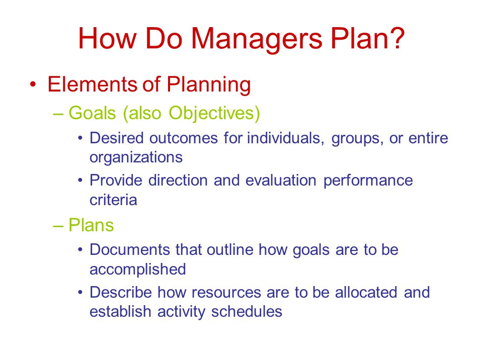 How Do Managers Plan.