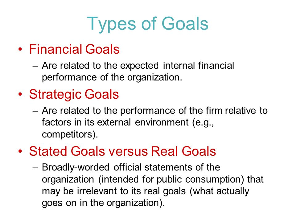 Types of Goals Financial Goals –Are related to the expected internal financial performance of the organization.