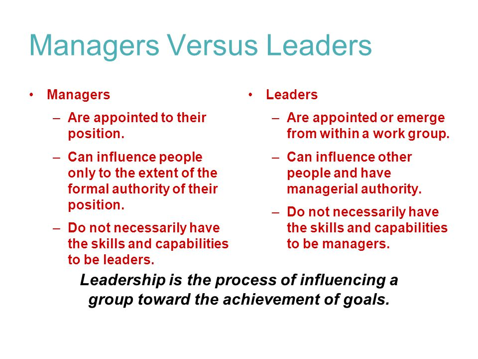 Managers Versus Leaders Managers –Are appointed to their position.