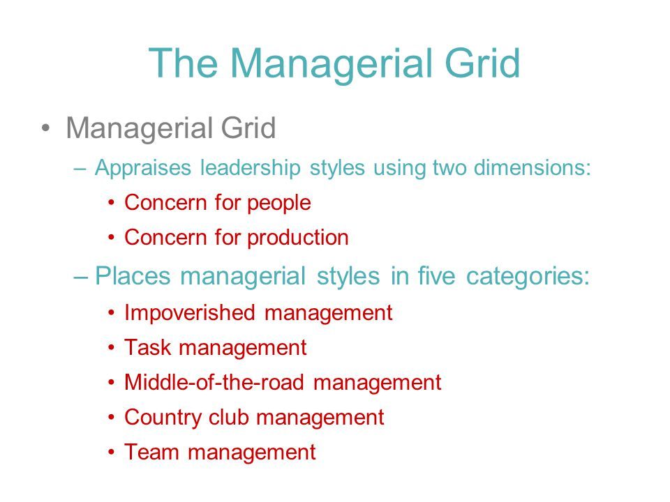 The Managerial Grid Managerial Grid –Appraises leadership styles using two dimensions: Concern for people Concern for production –Places managerial styles in five categories: Impoverished management Task management Middle-of-the-road management Country club management Team management