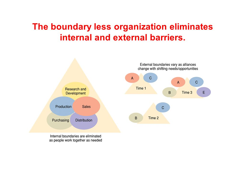The boundary less organization eliminates internal and external barriers.