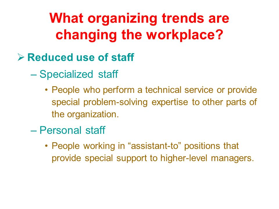 What organizing trends are changing the workplace.