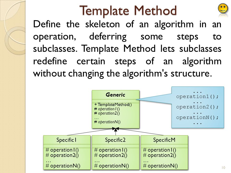 Template Method Define the skeleton of an algorithm in an operation, deferring some steps to subclasses.