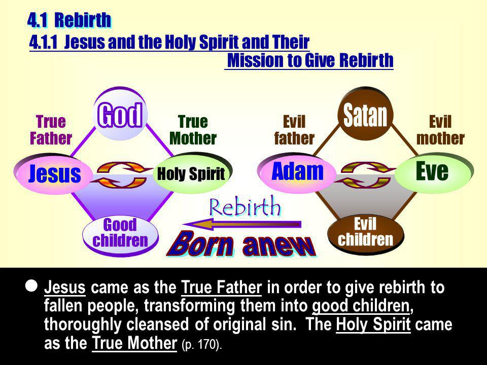Jesus came as the True Father in order to give rebirth to fallen people, transforming them into good children, thoroughly cleansed of original sin.