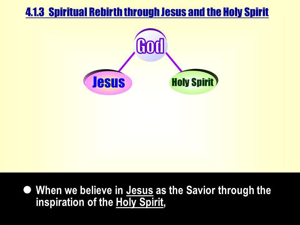 4.1.3 Spiritual Rebirth through Jesus and the Holy Spirit When we believe in Jesus as the Savior through the inspiration of the Holy Spirit,  Jesus Holy Spirit