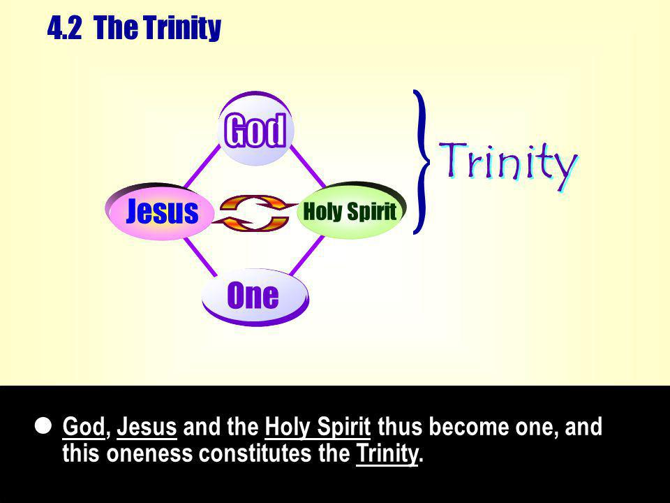 God, Jesus and the Holy Spirit thus become one, and this oneness constitutes the Trinity.
