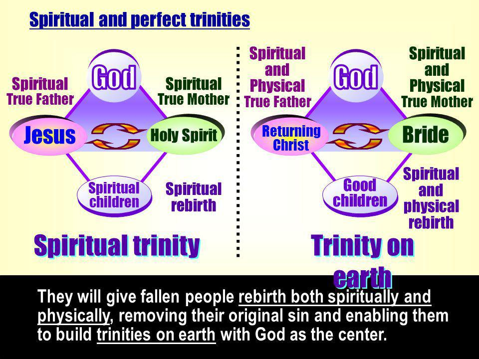 They will give fallen people rebirth both spiritually and physically, removing their original sin and enabling them to build trinities on earth with God as the center.