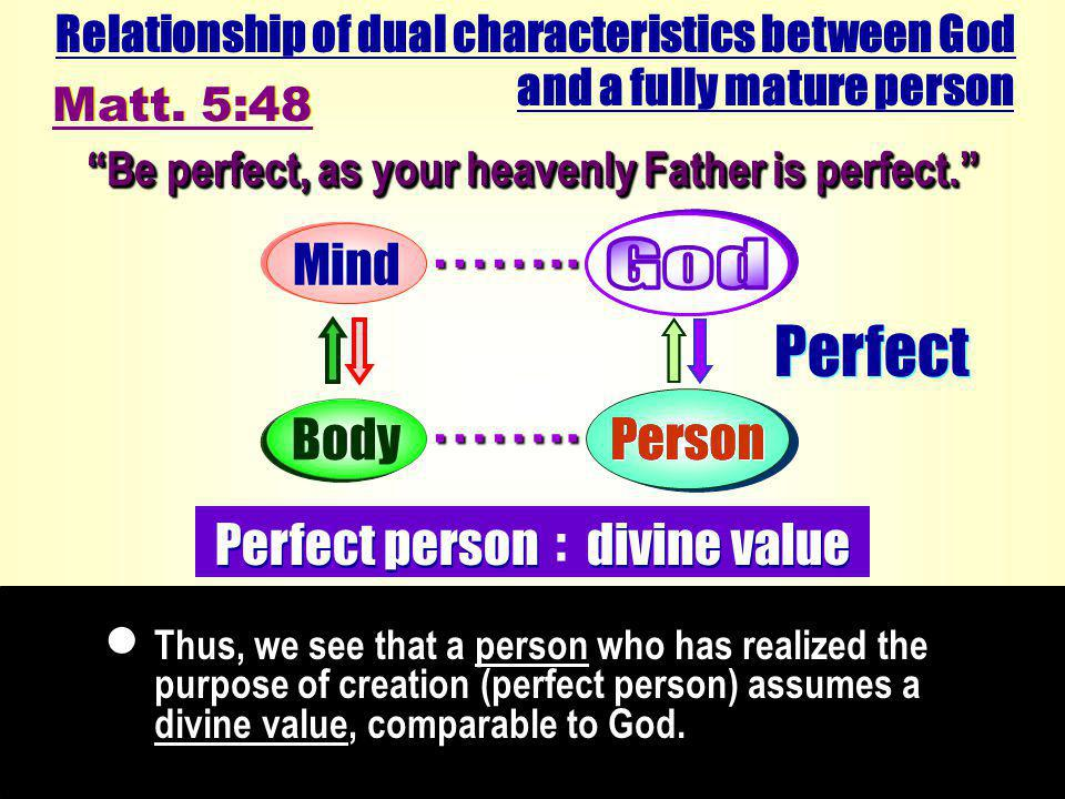 Perfect Person Thus, we see that a person who has realized the purpose of creation (perfect person) assumes a divine value, comparable to God.