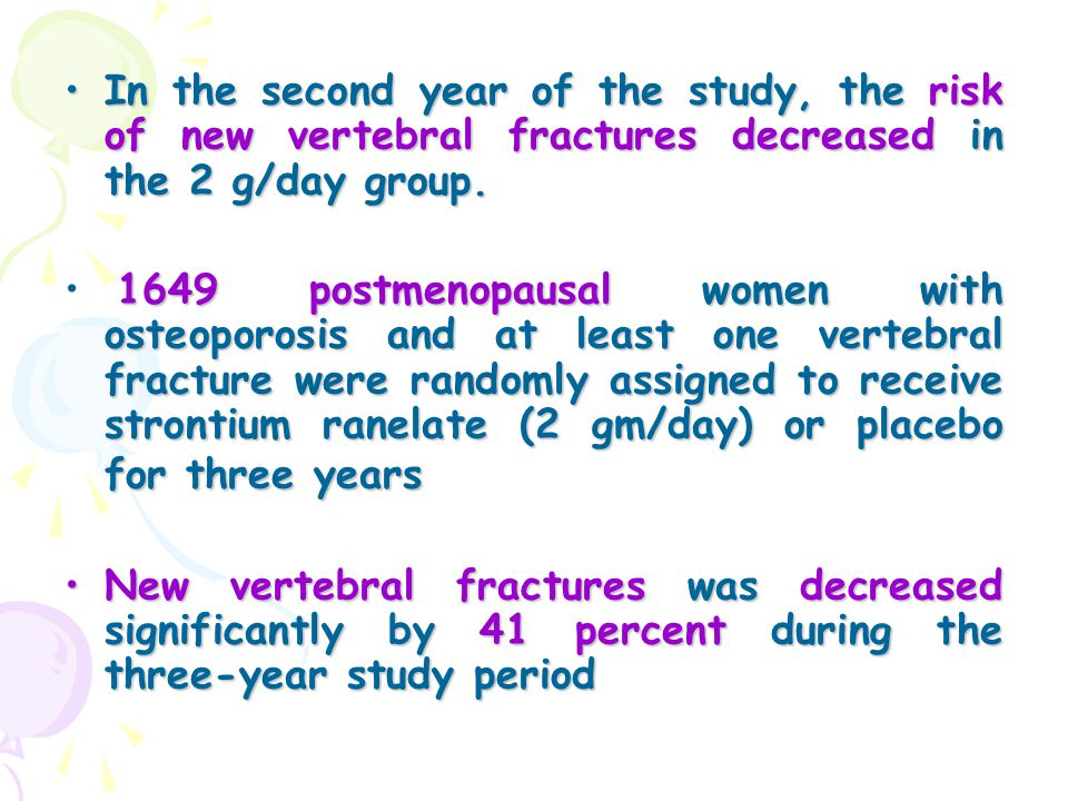 In the second year of the study, the risk of new vertebral fractures decreased in the 2 g/day group.In the second year of the study, the risk of new v