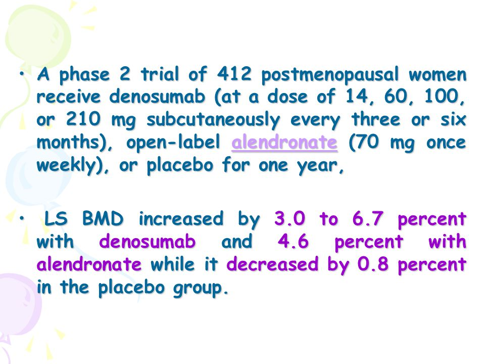 A phase 2 trial of 412 postmenopausal women receive denosumab (at a dose of 14, 60, 100, or 210 mg subcutaneously every three or six months), open-lab