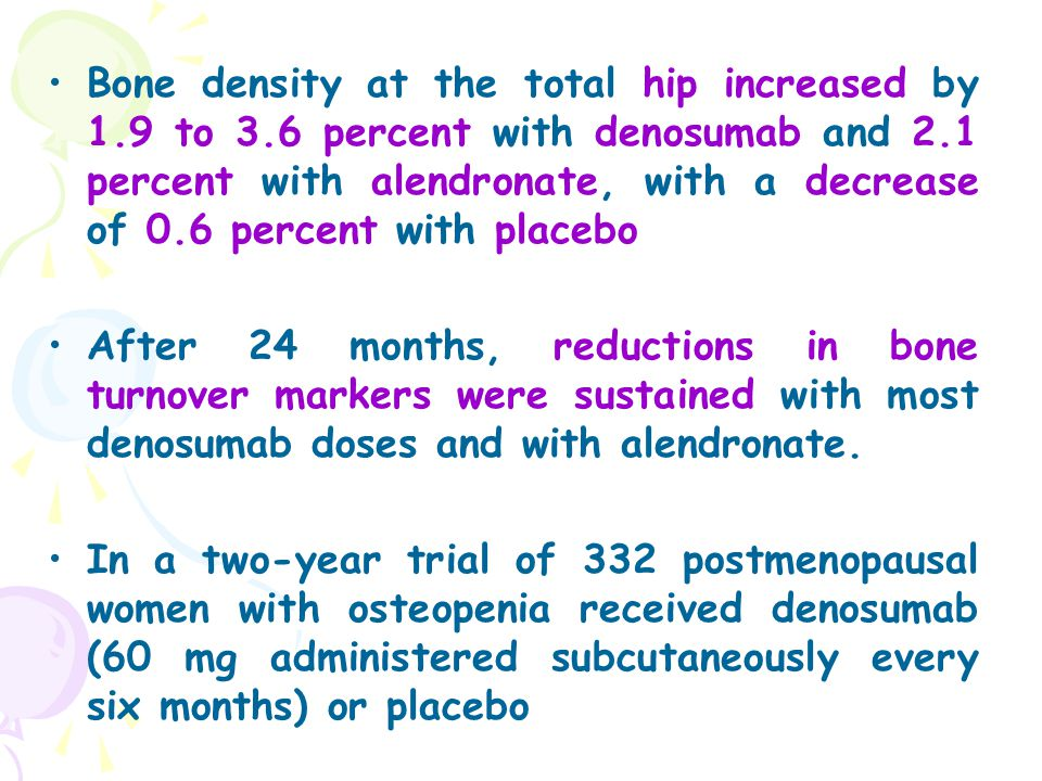 Bone density at the total hip increased by 1.9 to 3.6 percent with denosumab and 2.1 percent with alendronate, with a decrease of 0.6 percent with pla