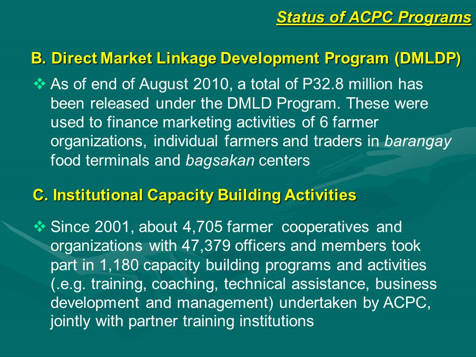 Status of ACPC Programs B. Direct Market Linkage Development Program (DMLDP)   As of end of August 2010, a total of P32.8 million has been released