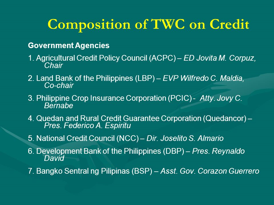 Composition of TWC on Credit Private Sector 1.