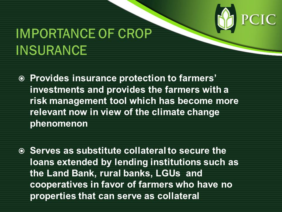 IMPORTANCE OF CROP INSURANCE  Provides insurance protection to farmers' investments and provides the farmers with a risk management tool which has become more relevant now in view of the climate change phenomenon  Serves as substitute collateral to secure the loans extended by lending institutions such as the Land Bank, rural banks, LGUs and cooperatives in favor of farmers who have no properties that can serve as collateral