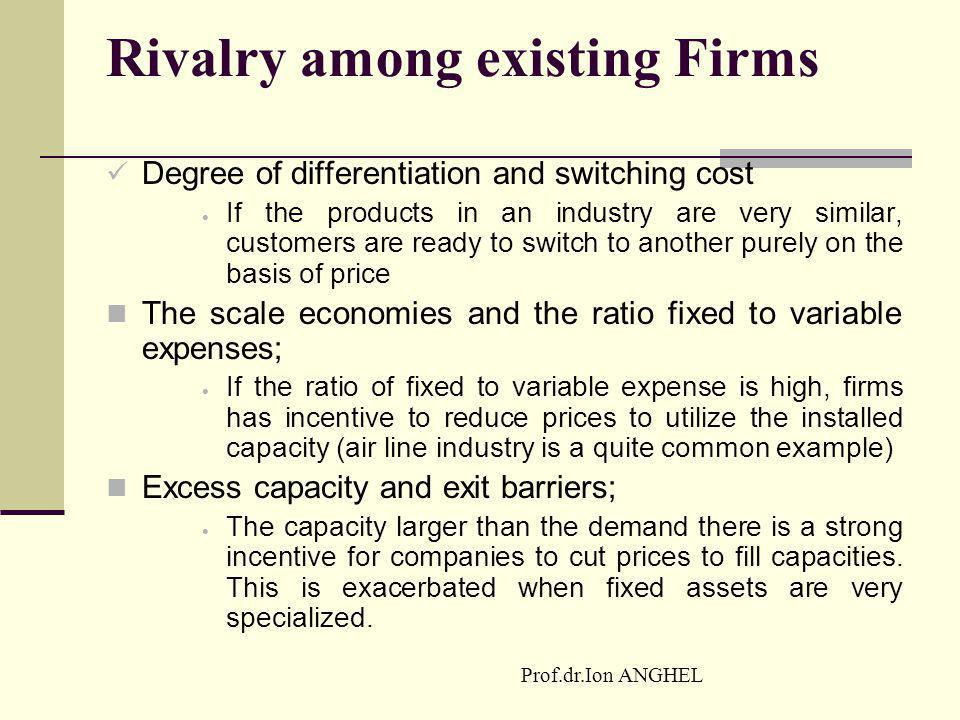 Prof.dr.Ion ANGHEL Rivalry among existing Firms Degree of differentiation and switching cost  If the products in an industry are very similar, custom