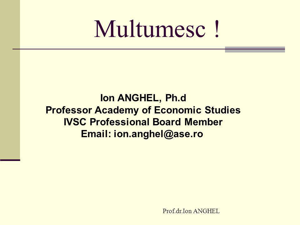 Prof.dr.Ion ANGHEL Multumesc ! Ion ANGHEL, Ph.d Professor Academy of Economic Studies IVSC Professional Board Member Email: ion.anghel@ase.ro