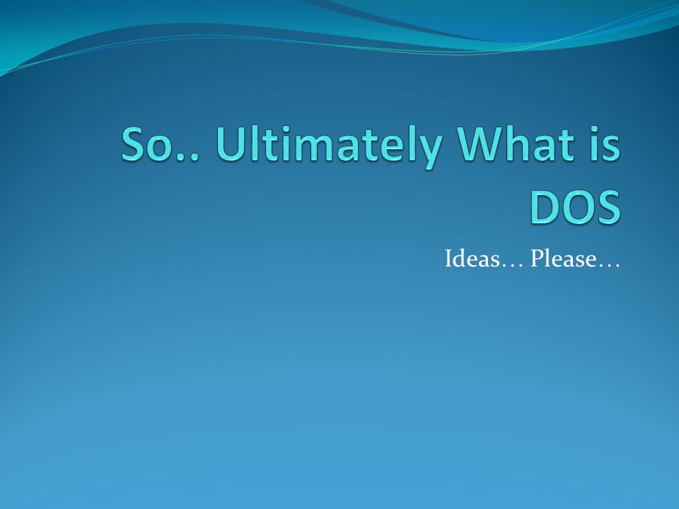Ideas … Please …
