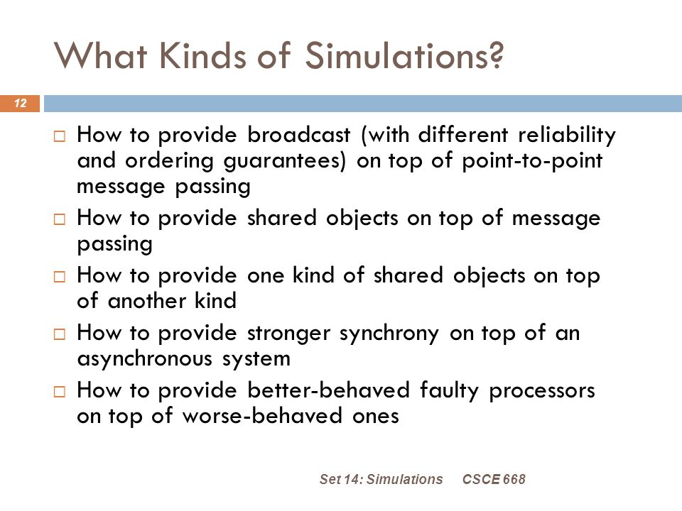 What Kinds of Simulations.