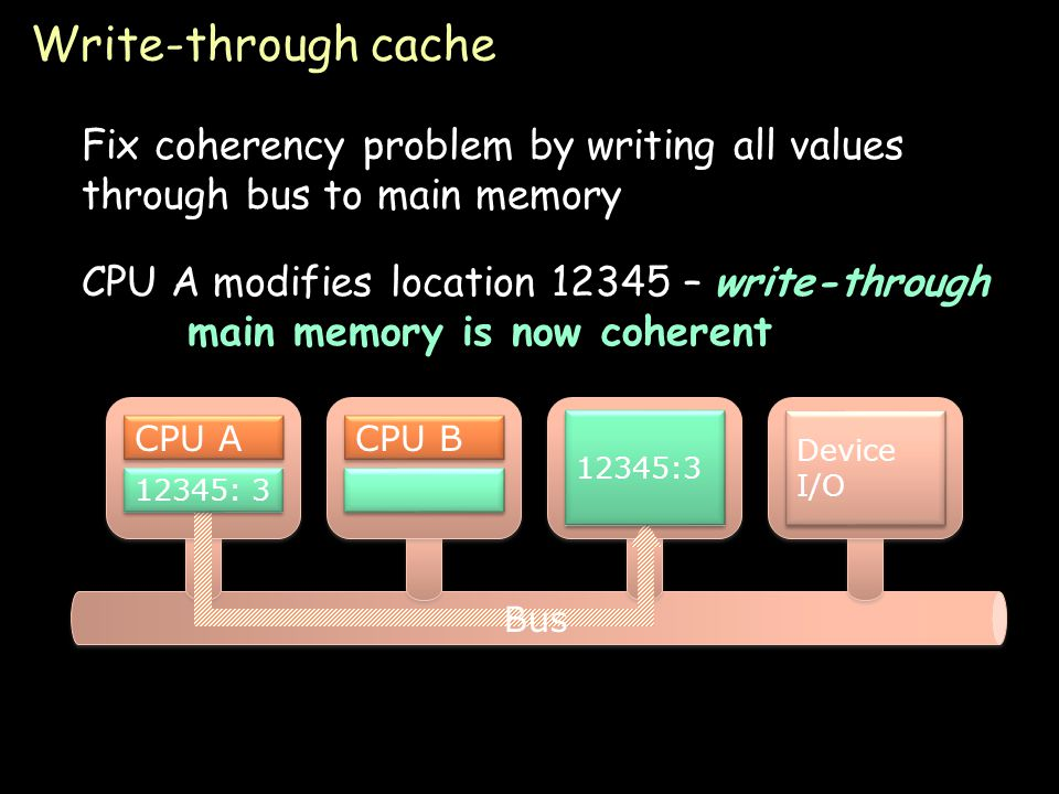 Page 22 Write-through cache Fix coherency problem by writing all values through bus to main memory 12345:7 Device I/O CPU A 12345: 7 CPU B CPU A modifies location 12345 – write-through main memory is now coherent 12345: 3 Bus