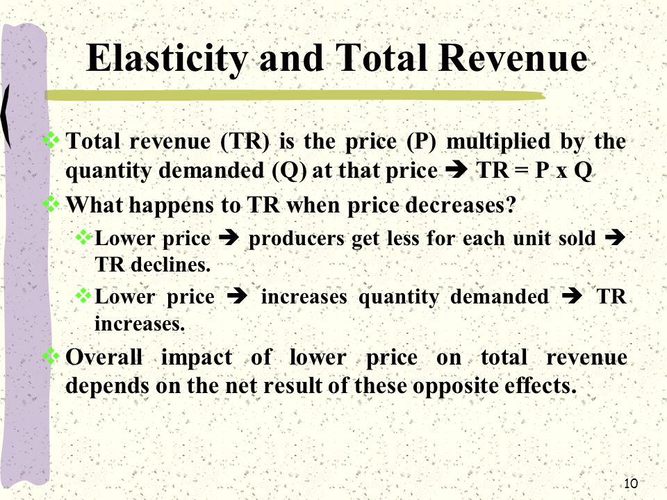 10 Elasticity and Total Revenue  Total revenue (TR) is the price (P) multiplied by the quantity demanded (Q) at that price  TR = P x Q  What happen