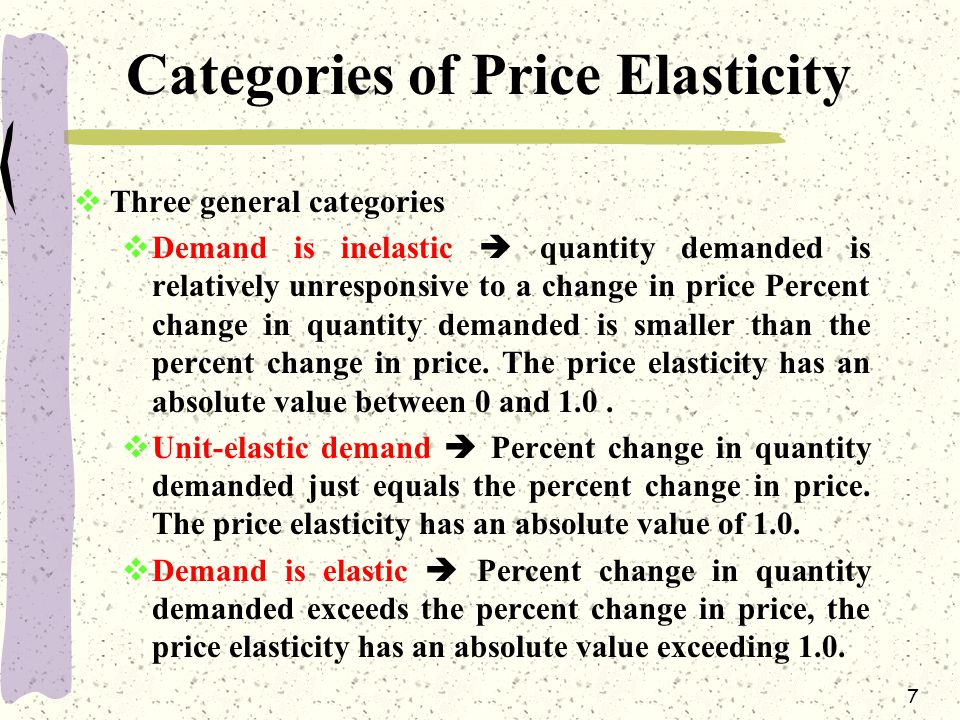 7 Categories of Price Elasticity  Three general categories  Demand is inelastic  quantity demanded is relatively unresponsive to a change in price