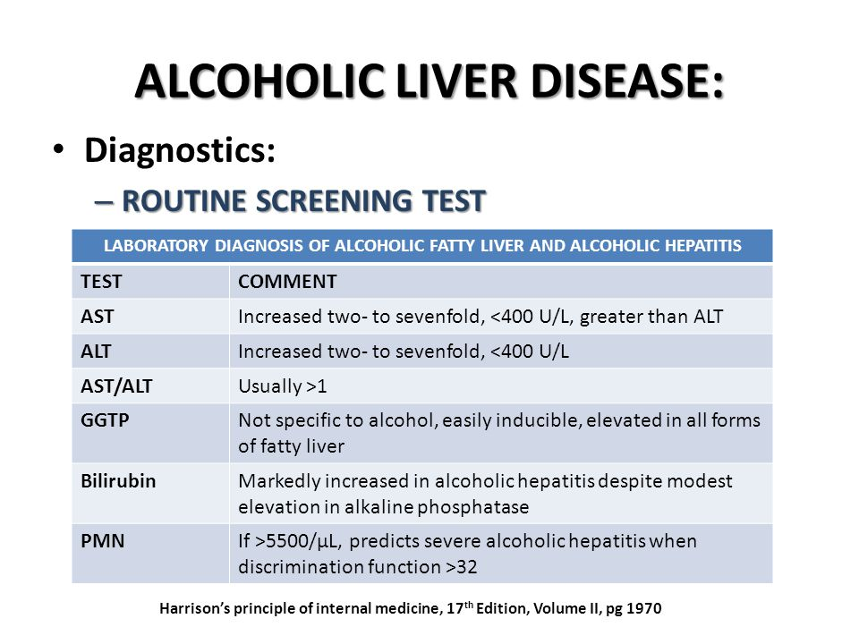 ALCOHOLIC LIVER DISEASE: Diagnostics: – ROUTINE SCREENING TEST LABORATORY DIAGNOSIS OF ALCOHOLIC FATTY LIVER AND ALCOHOLIC HEPATITIS TESTCOMMENT ASTIncreased two- to sevenfold, <400 U/L, greater than ALT ALTIncreased two- to sevenfold, <400 U/L AST/ALTUsually >1 GGTPNot specific to alcohol, easily inducible, elevated in all forms of fatty liver BilirubinMarkedly increased in alcoholic hepatitis despite modest elevation in alkaline phosphatase PMNIf >5500/μL, predicts severe alcoholic hepatitis when discrimination function >32 Harrison's principle of internal medicine, 17 th Edition, Volume II, pg 1970