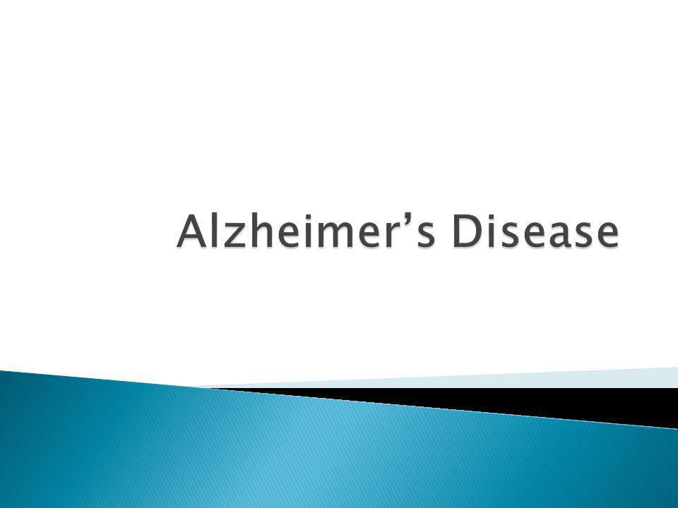  Most common and important degenerative disease of the brain  Shrinkage in size and weight of the brain  Severe degree of diffuse cerebral atrophy that evolve over the years are associated with dementia presenting with this disease