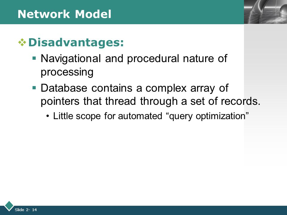 LOGO Slide 2- 14 Network Model  Disadvantages:  Navigational and procedural nature of processing  Database contains a complex array of pointers that thread through a set of records.