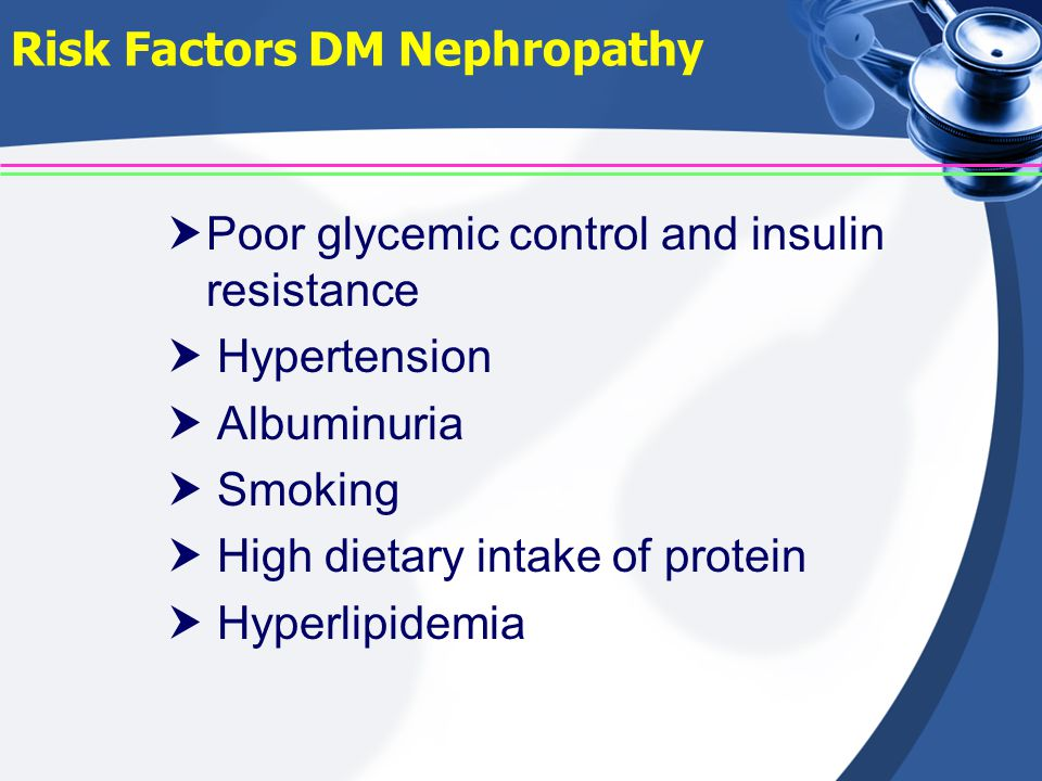 Risk Factors DM Nephropathy  Poor glycemic control and insulin resistance  Hypertension  Albuminuria  Smoking  High dietary intake of protein  H